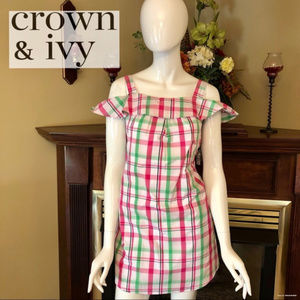 Crown & Ivy Cold Shoulder Plaid Dress Mini